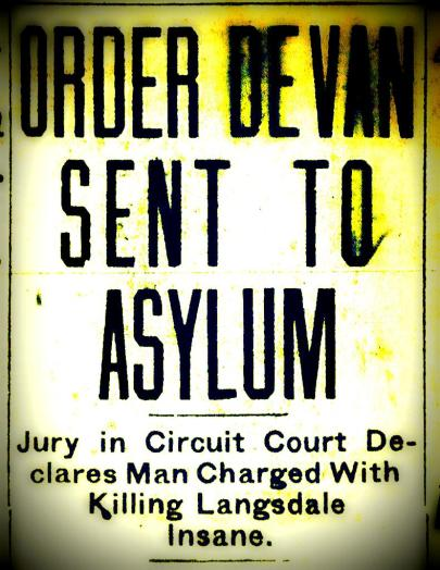 """Order DeVan Sent To Asylum,"" The Mobile Register, April 23, 1920."